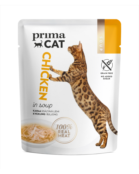 Konservuotas kačių maistas PRIMA CAT vištiena sriuboje, 40 g
