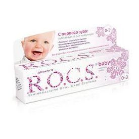 """Dantų pasta kūdikiams R.O.C.S """"Mild care of linden"""" 0-3 metų, 45 g"""
