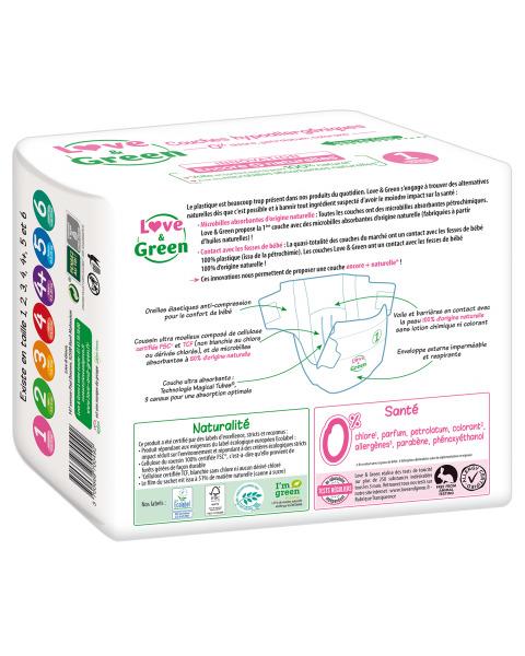 Ekologiškos sauskelnės LOVE&GREEN, 1 dydžio, 2-5 kg, 23 vnt. 2