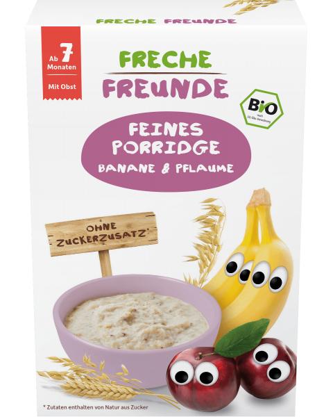 Avižų košė FRECHE FREUNDE su bananais ir slyvomis, nuo 7 mėn., 200 g