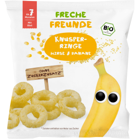 Ekologiški kukurūzai FRECHE FREUNDE su soromis ir bananais, nuo 7 mėn., 20 g