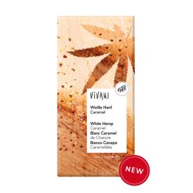 Ekologiškas baltasis šokoladas VIVANI su karamelizuotomis kanapėmis, 80 g