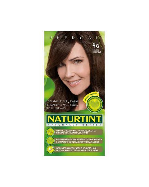 Plaukų dažai ilgalaikiai be amoniako 4G aukso kaštoninė NATURTINT Naturally Better, 165 ml