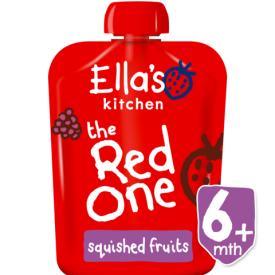 Ekologiška braškių, aviečių, obuolių ir bananų tyrelė ELLA'S KITCHEN The Red One vaikams nuo 6 mėn., 90 g