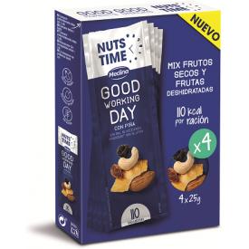 """Džiovintų vaisių ir riešutų mišinys NUTS TIME """"Good Working"""", 4x25g"""
