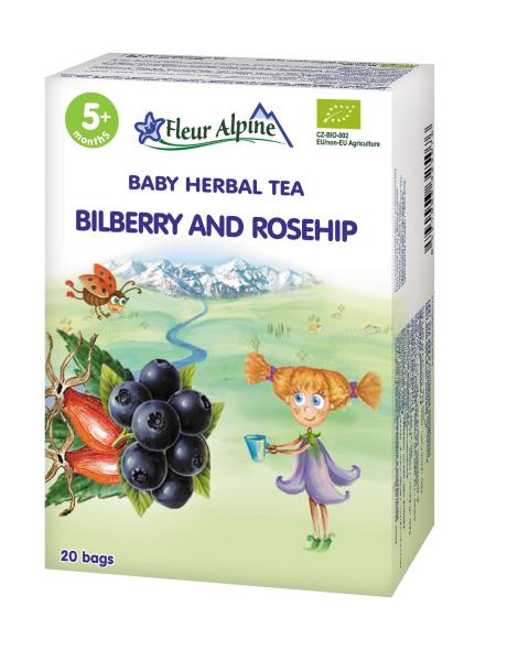 Ekologiška mėlynių ir erškėtrožių arbata kūdikiams nuo 5 mėn. FLEUR ALPINE, 30 g