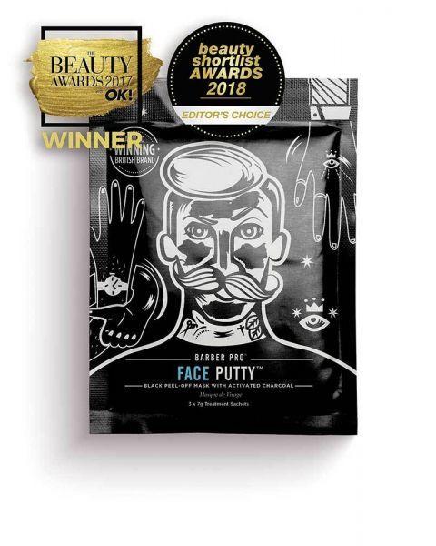 Nuplėšiama veido kaukė vyrams BEAUTY PRO Barber Pro su aktyvinta anglimi, 3x7g