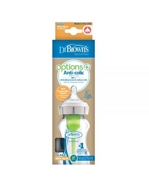 Stiklinis buteliukas plačiu kakleliu DR.BROWN'S Options+, 270 ml, 1 vnt. 2