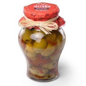 Žaliosiosios Gordal alyvuogės su saulėje džiovintais pomidorais ir kaparėliais  DON GASTRONOM,  580 g
