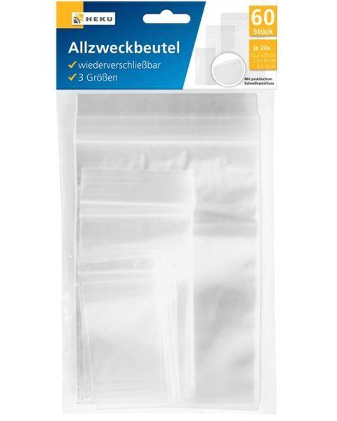 Plastikiniai maišeliai HEKU, 3 dydžių, 60 vnt