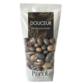 Skrudinti migdolai PECOU padengti juoduoju šokoladu, 250 g