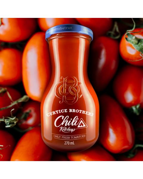 Ekologiškas aštrus pomidorų kečupas CURTICE BROTHERS su čili, 270 ml 2