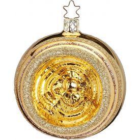 """Rankų darbo kalėdinis žaisliukas INGE-GLAS® """"Aukso atspindžiai - burbulas"""", 10 cm, 1 vnt."""