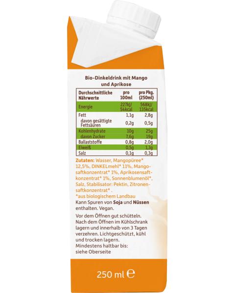 Ekologiškas spelta gėrimas FRECHE FREUNDE su mangais ir abrikosais, 250 ml 3