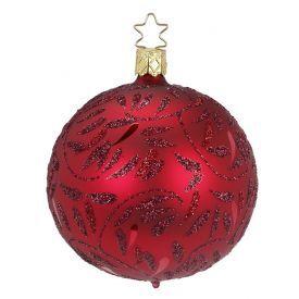 """Rankų darbo kalėdinis žaisliukas INGE-GLAS® """"Raudonas raštuotas burbulas"""", 8 cm, 1 vnt."""