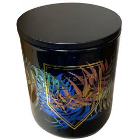 "Namų žvakė CANDELE FIRENZE ""Glass Phantasy Black Leaves"" (vetiveris, ąžuolas), 90x100 mm, 60 h, 1 vnt."