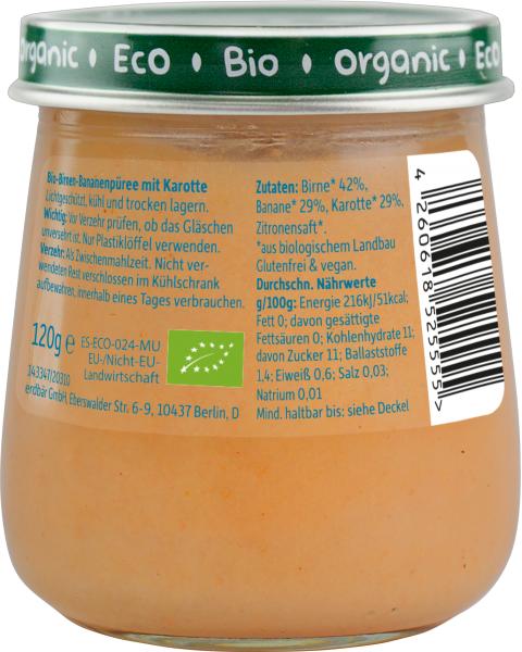 Ekologiška tyrelė FRECHE FREUNDE su kriaušėmis, bananais ir morkomis, nuo 5 mėn., 120g, stiklas 2