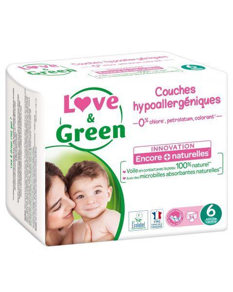 Ekologiškos sauskelnės LOVE&GREEN, 6 dydžio, 15+ kg, 34 vnt.