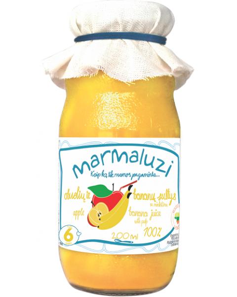 Obuolių ir bananų sultys MARMALUZI vaikams nuo 6 mėn., 200 ml