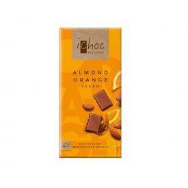 Ekologiškas veganiškas šokoladas ICHOC su migdolais ir apelsinais, 80 g