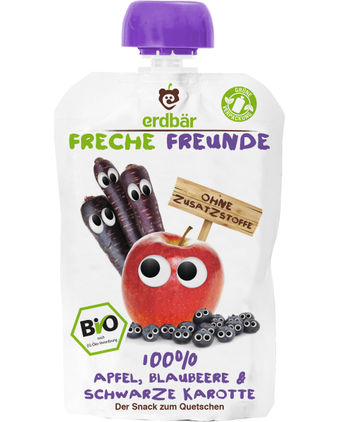 Ekologiška obuolių, mėlynių ir purpurinių morkų tyrelė FRECHE FREUNDE, 100 g
