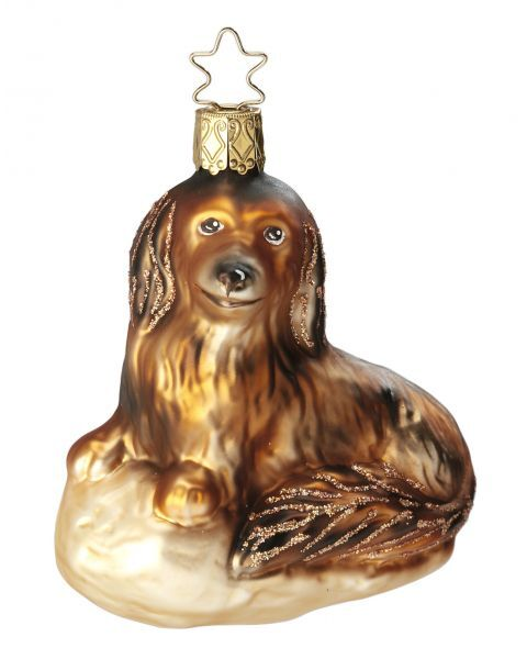 """Rankų darbo kalėdinis žaisliukas INGE-GLAS® """"Šuniukas Daksis"""", 9 cm, 1 vnt."""