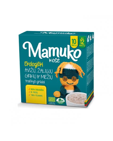 Ekologiškų avižų, šviesių grikių ir miežių traiškytų grūdų mišinys košei MAMUKO vaikams nuo 12 mėn., 240 g