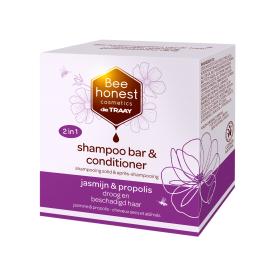 Kietasis plaukų šampūnas ir kondicionierius su jazminais ir propoliu BEEHONEST, 80 g