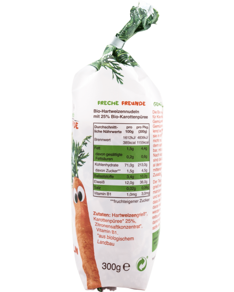 Ekologiški makaronai su morkomis FRECHE FREUNDE, 300 g 2