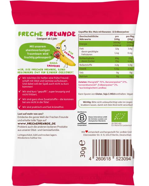 Ekologiški kukurūzai su braškėmis ir bananais FRECHE FREUNDE, 30 g 2