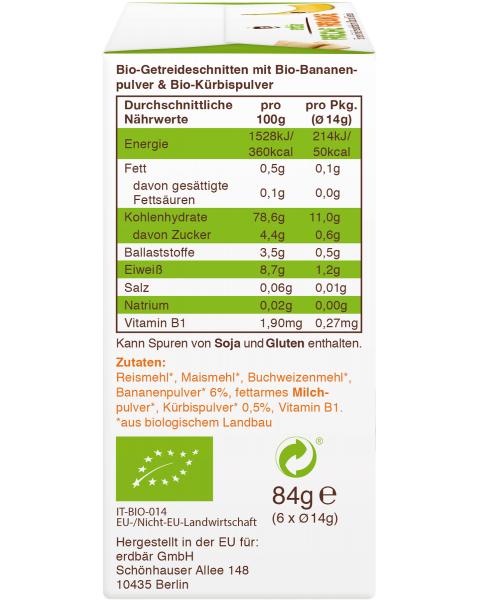 Ekologiški trapučiai FRECHE FREUNDE su bananais ir moliūgais, 84 g 2