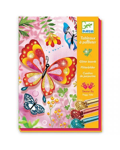 Lipnios lentelės su 6 spalvų blizgučiais DJECO Drugeliai 7-13 m. vaikams (DJ09503)