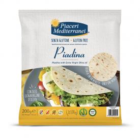 Plokščia itališka duona Piadina PIACERI MEDITERRANEI, be gliuteno, 200 g