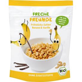 Ekologiški sausi pusryčiai kukurūzai-skaičiukai FRECHE FREUNDE su bananais ir vanile, nuo 1 m., 125 g