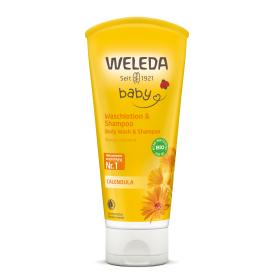 Šampūnas ir kūno prausiklis vaikams WELEDA su medetkų ekstraktu, 200 ml