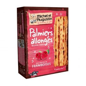 Prancūziški sausainiai Palmiers MICHEL&AUGUSTIN su avietėmis, 120 g