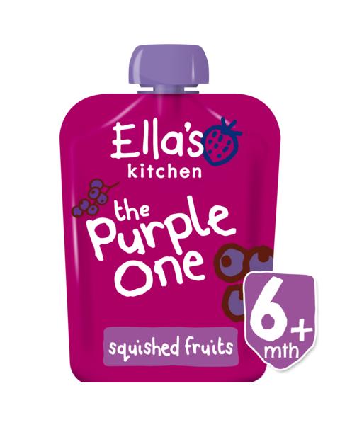 Ekologiška juodųjų serbentų, mėlynių, obuolių ir bananų tyrelė ELLA'S KITCHEN The Purple One vaikams nuo 6 mėn., 90 g