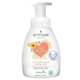 Putojantis kūno ir plaukučių prausiklis su kriaušių aromatu ATTITUDE Baby Leaves, 295 ml