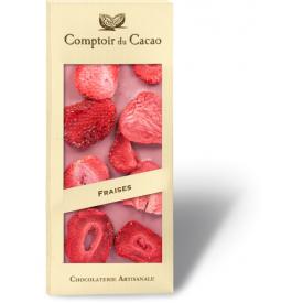 Rožinis šokoladas COMPTOIR du CACAO, su braškėmis, 90 g