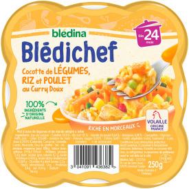 Daržovių troškinys BLEDINA su ryžiais, vištiena ir kariu, nuo 24 mėnesių, 250g