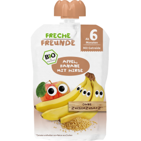 Obuolių ir bananų tyrelė FRECHE FREUNDE su soromis, nuo 6 mėn., 100 g
