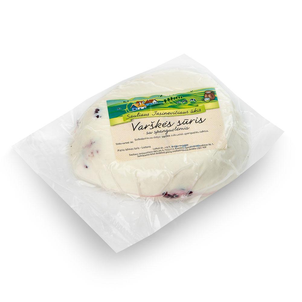Ūkininko JASINEVIČIAUS varškės sūris su spanguolėmis, 15%