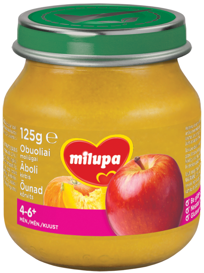 Obuoliai MILUPA su moliūgais kūdikiams nuo 4-6 mėn., 125 g