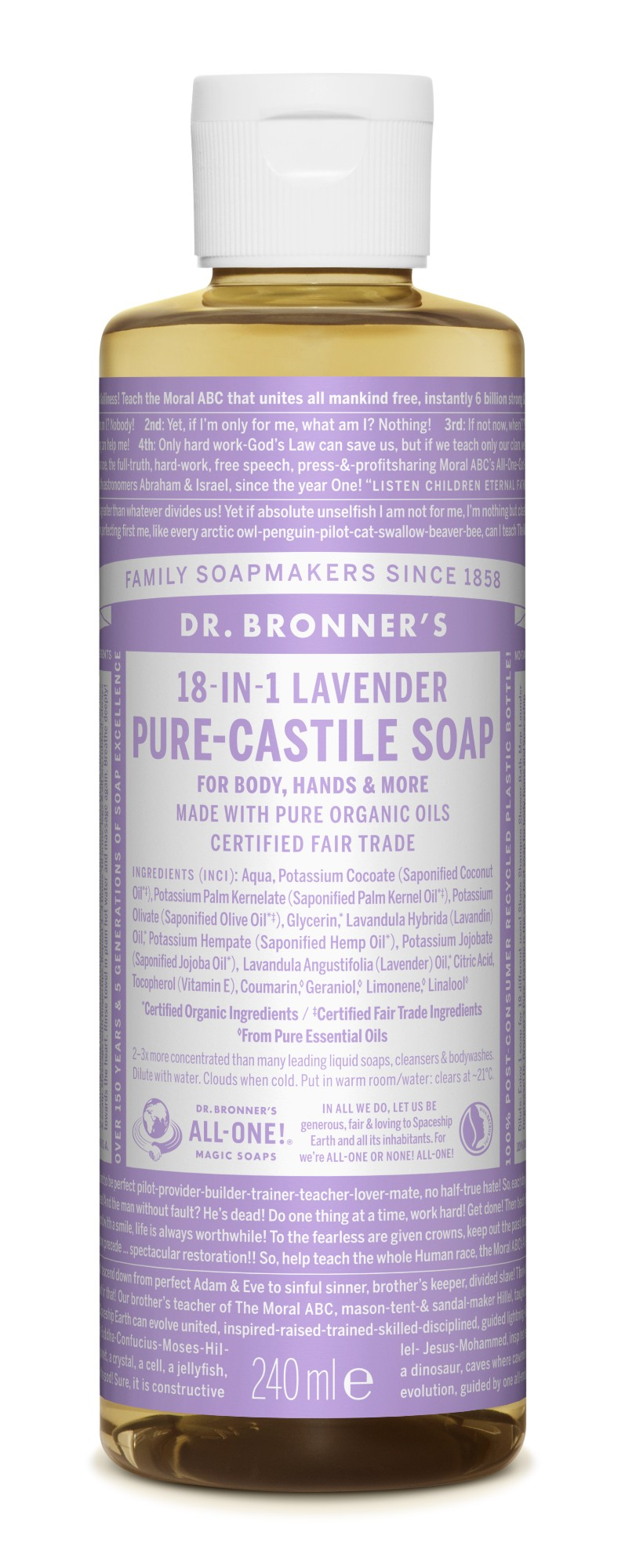Ekologiškas tyras kastilietiškas skystas muilas DR. BRONNER'S Lavender 240 ml