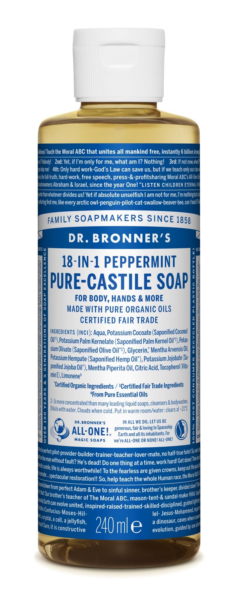 Ekologiškas tyras kastilietiškas skystas muilas DR. BRONNER'S Peppermint 240 ml