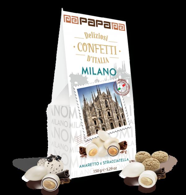 Migdolai su baltuoju šokoladu PAPA Milano, amareto ir stracciatellos skoniu 150g