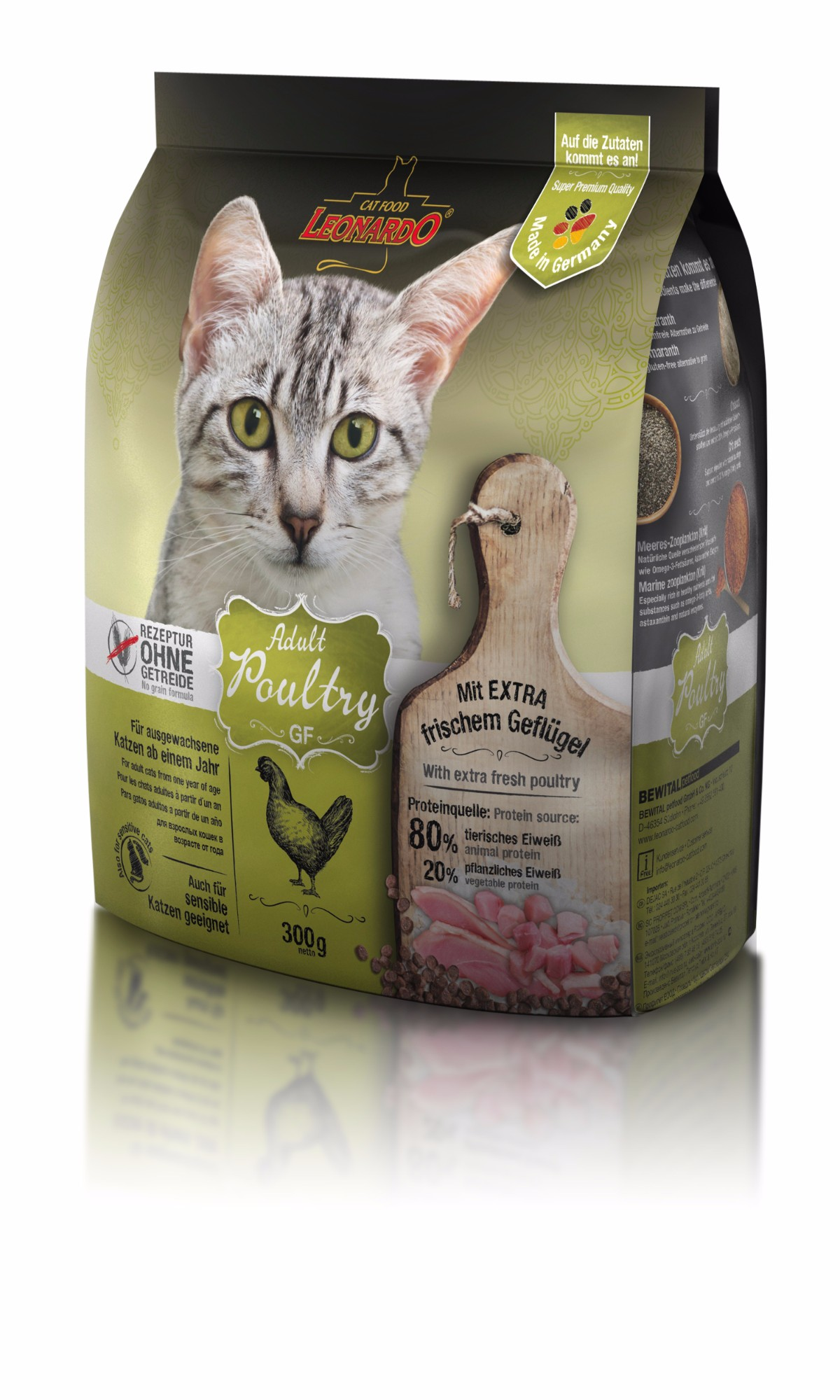 LEONARDO begrūdis maistas suaugusioms katėms, 0.3kg