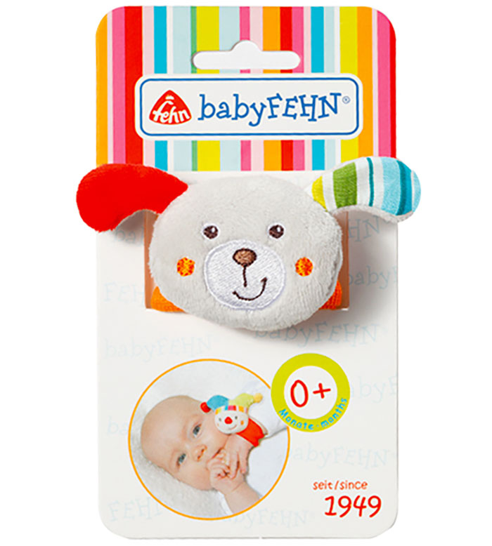 Barškantis žaisliukas ant riešo Šuniukas BABYFEHN vaikams nuo gimimo, 5 cm (197815)