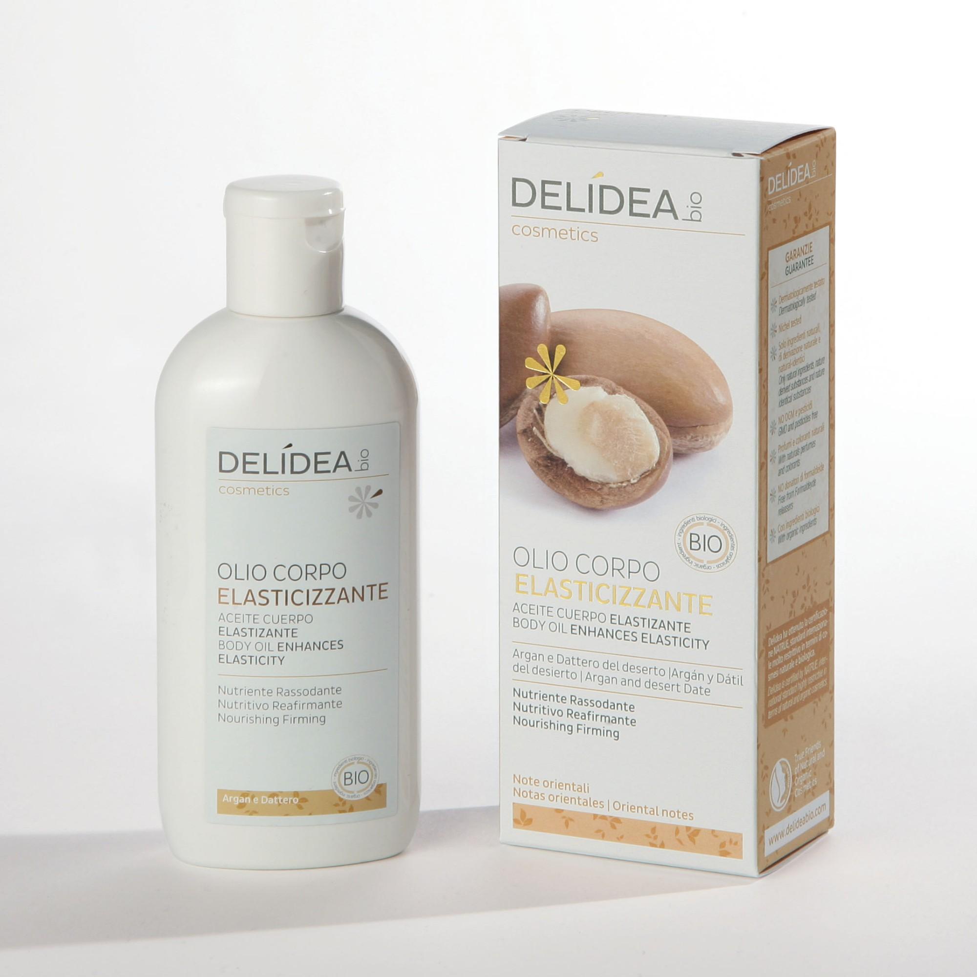 Ekologiškas  stangrinamas ir elastingumo suteikiantis kūno aliejus DELIDEA BIO su argano aliejumi, 100 ml