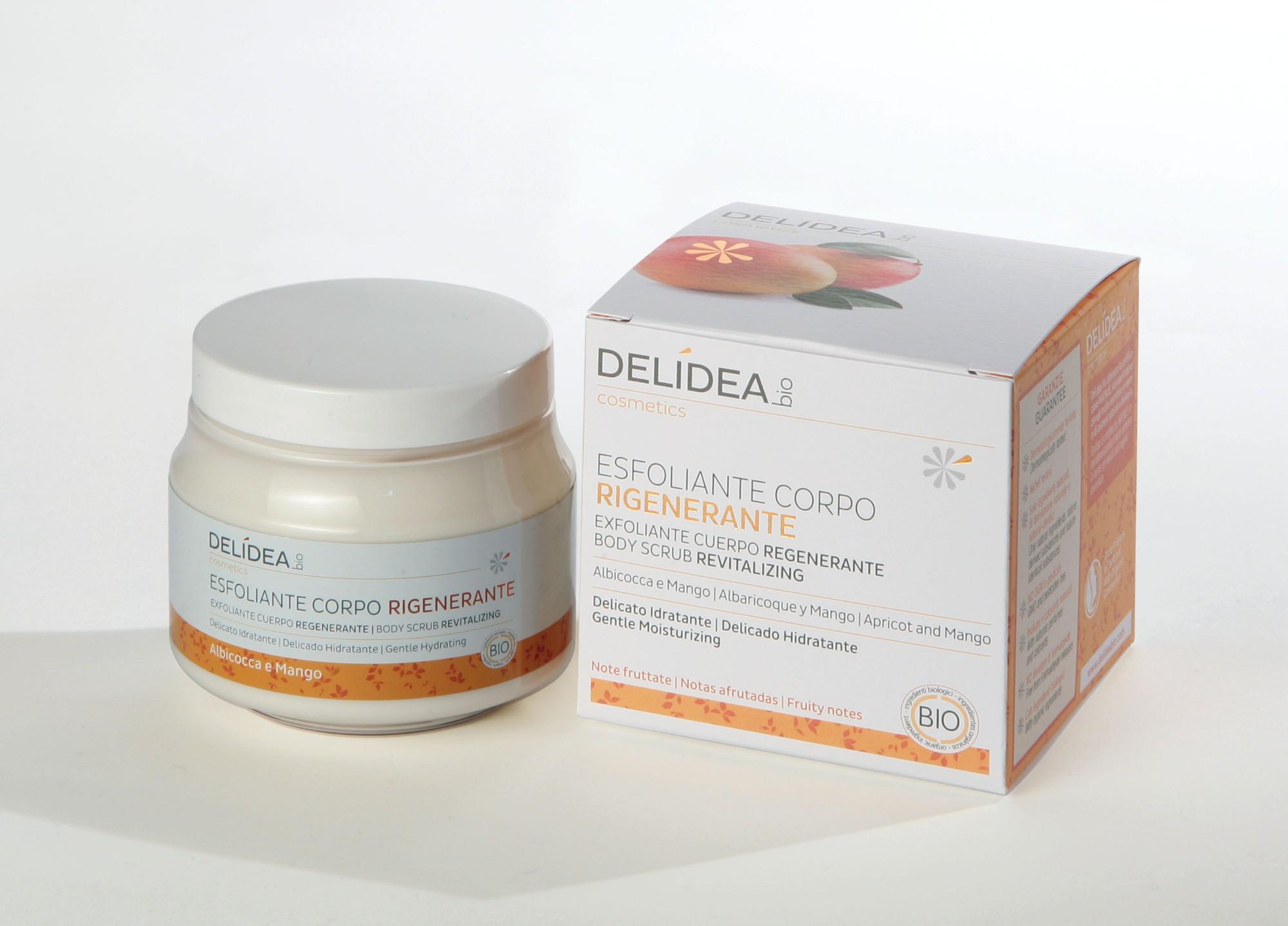Ekologiškas  drėkinantis ir elastingumo suteikiantis kūno šveitiklis DELIDEA BIO su mango ir abrikosų aliejumi, 200 ml